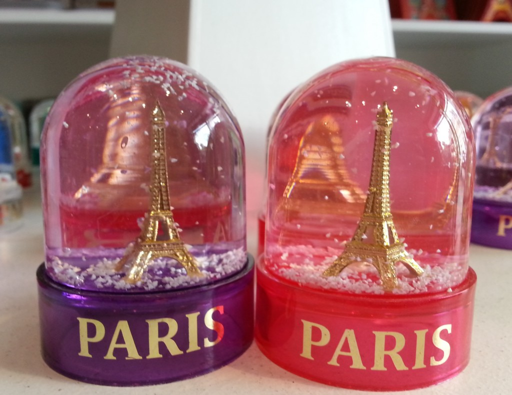 pink purple Paris snow globes