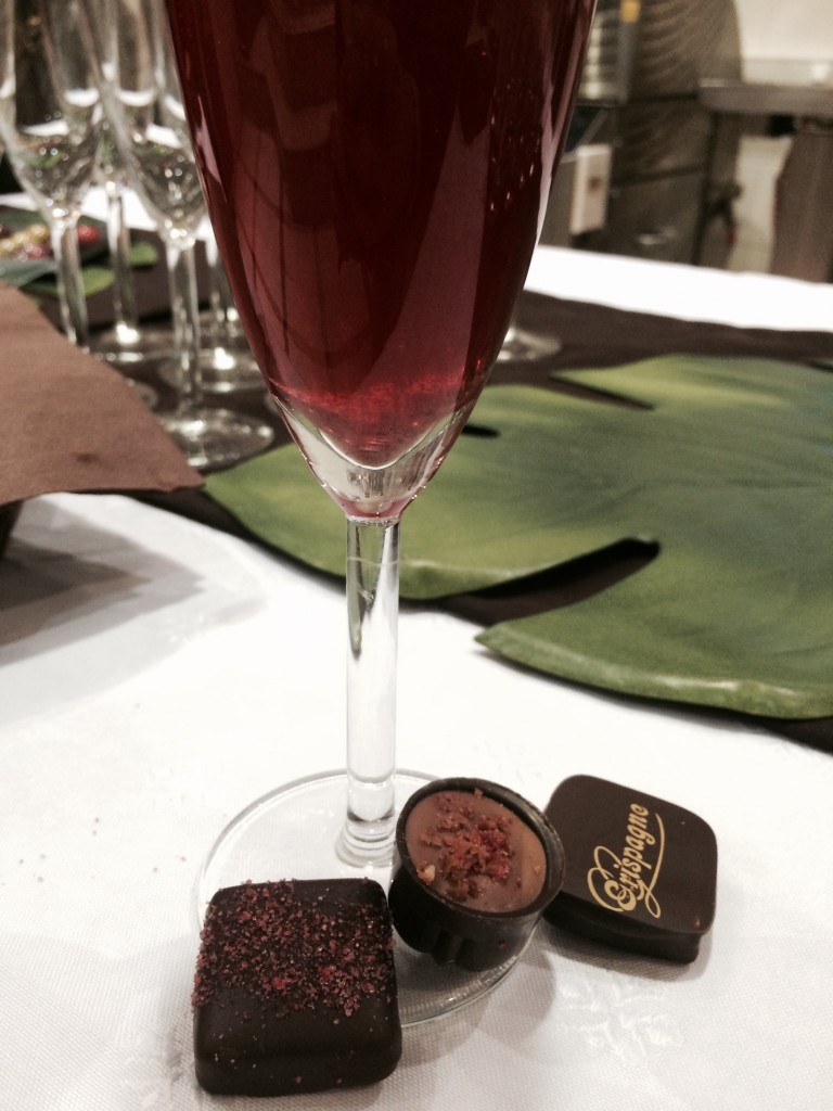 pink champagne and chocoalte