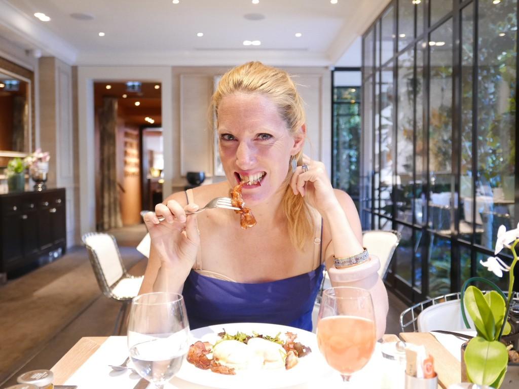 pretty girl eating bacon